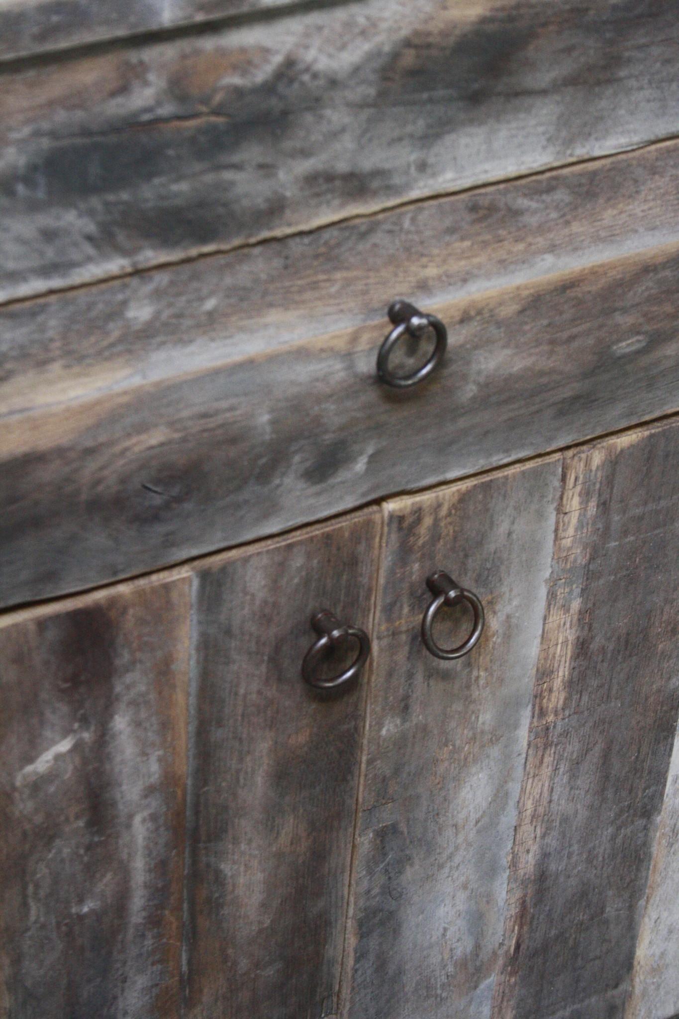 Oud Eikenhouten Badkamermeubel 90 x 90 cm met lades en deurtjes-8
