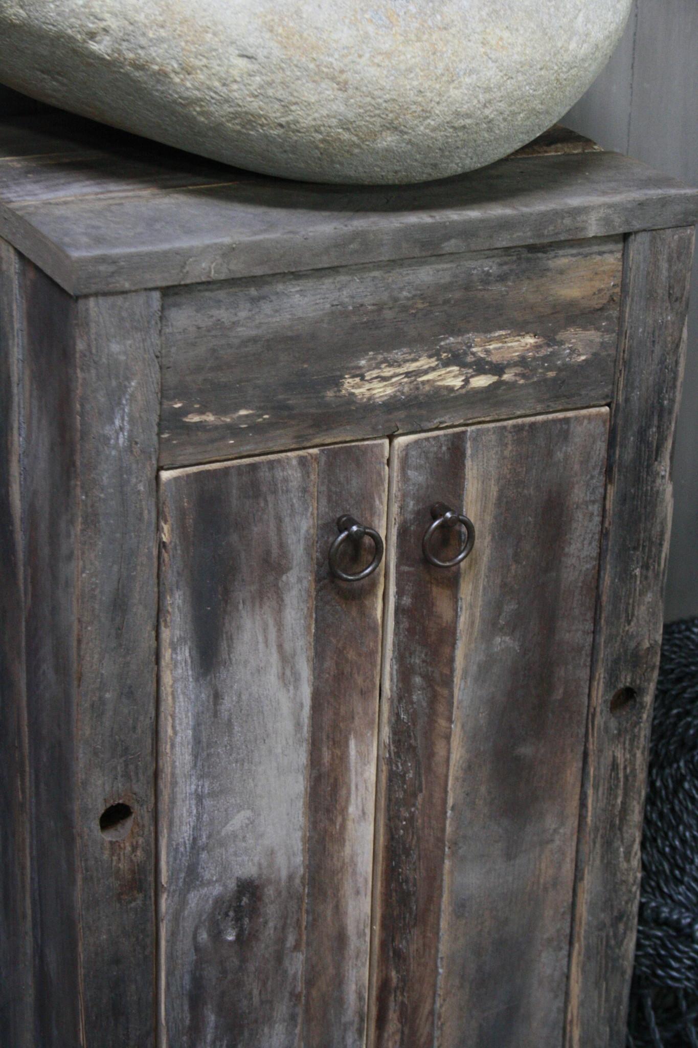 Oud Eikenhouten Toiletmeubel 90 x 40 x 30 cm-5
