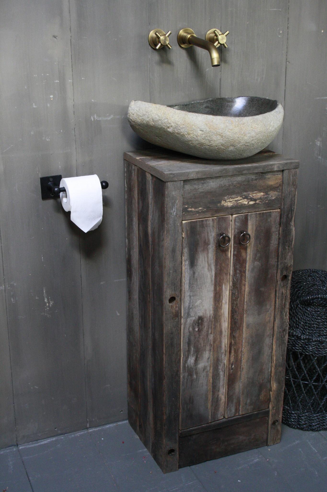 Oud Eikenhouten Toiletmeubel 90 x 40 x 30 cm-3