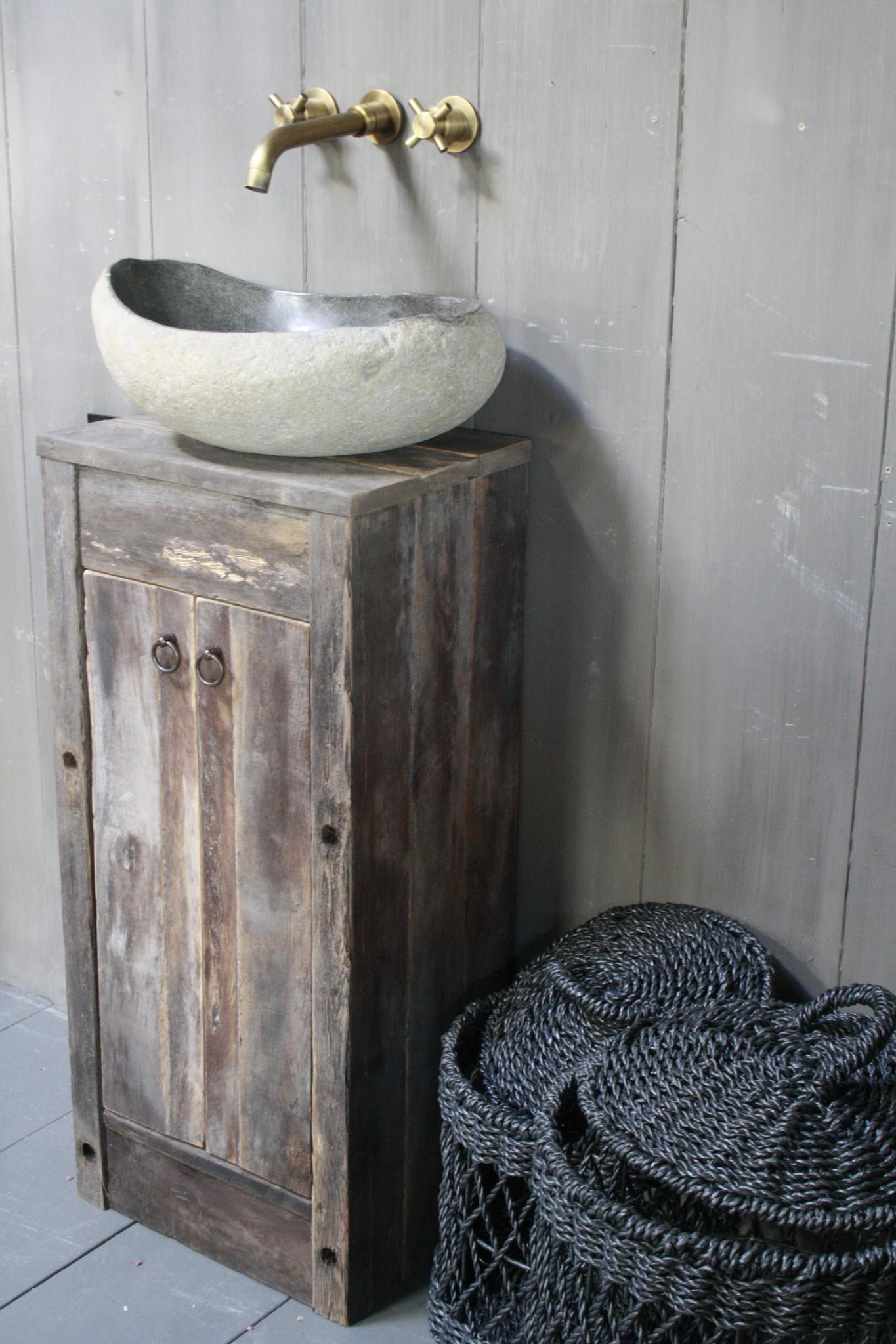 Oud Eikenhouten Toiletmeubel 90 x 40 x 30 cm-6