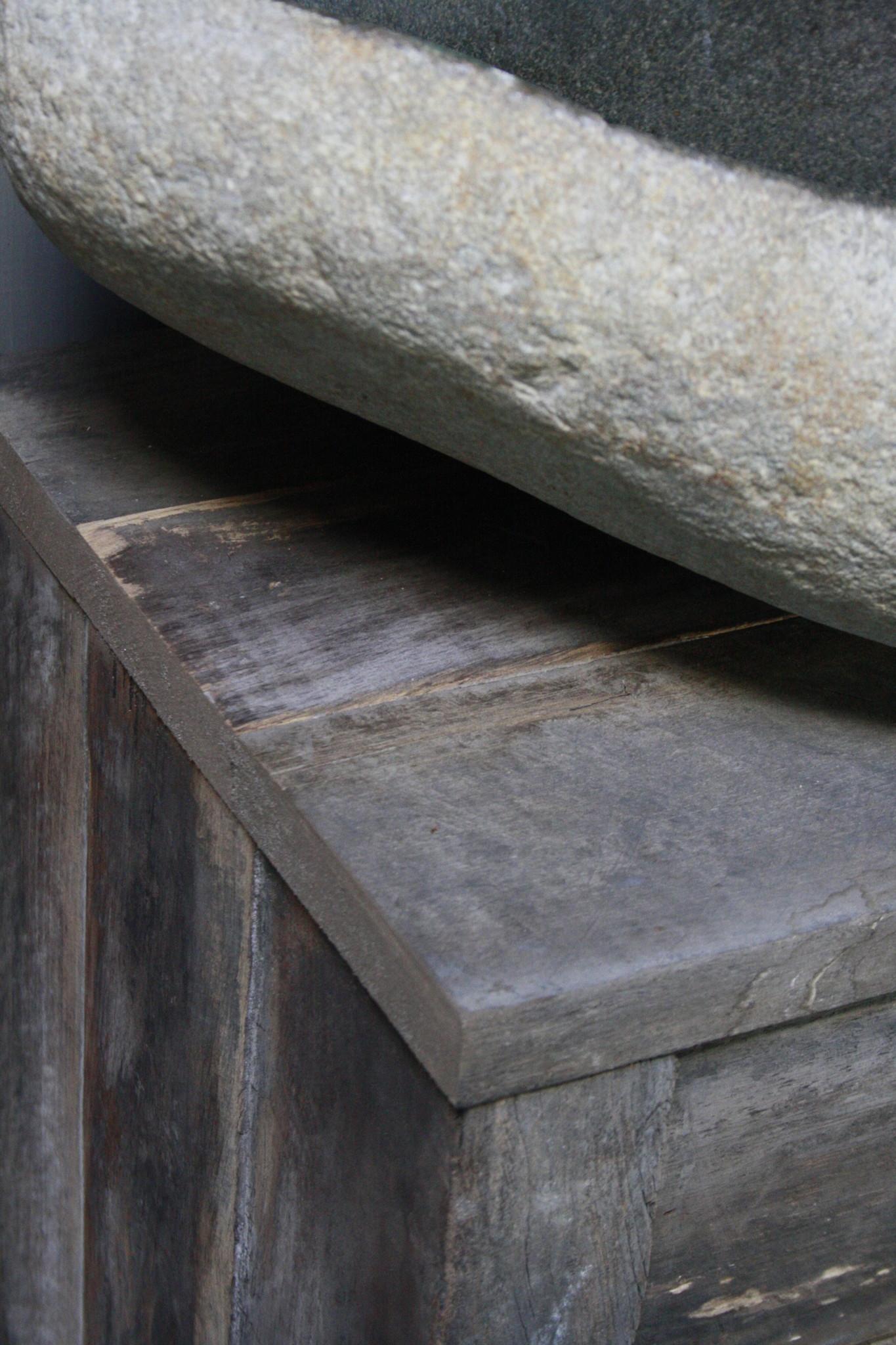 Oud Eikenhouten Toiletmeubel 90 x 40 x 30 cm-8