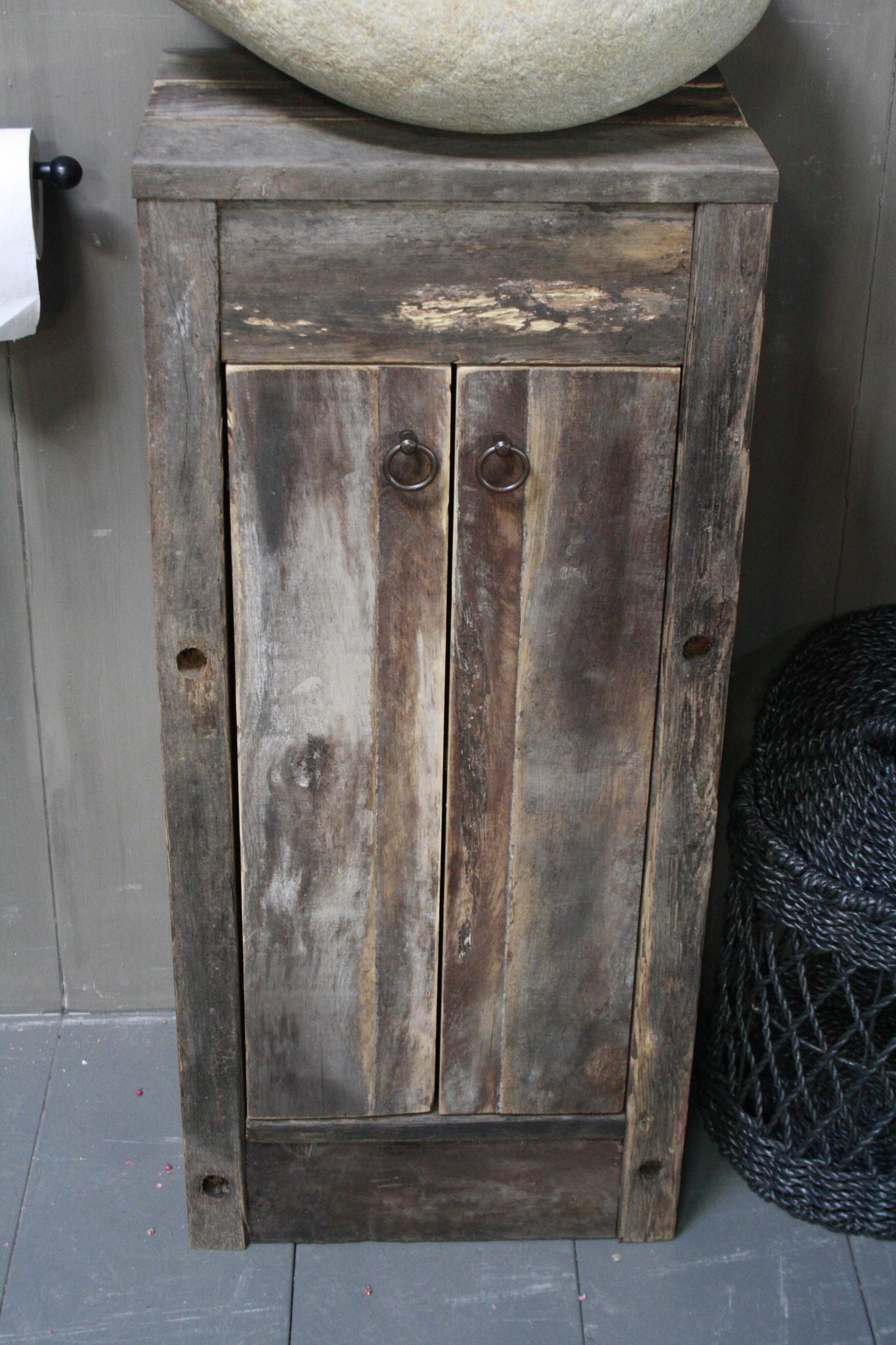 Oud Eikenhouten Toiletmeubel 90 x 40 x 30 cm-9