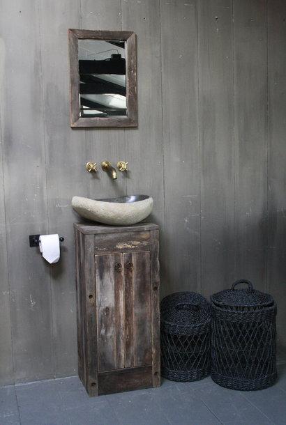 Oud Eikenhouten Toiletmeubel 90 x 40 x 30 cm