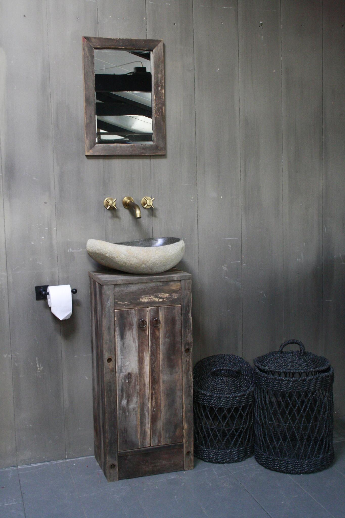 Oud Eikenhouten Toiletmeubel 90 x 40 x 30 cm-1