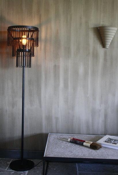 Stoere metalen vloerlamp Katie L170 x B30 cm