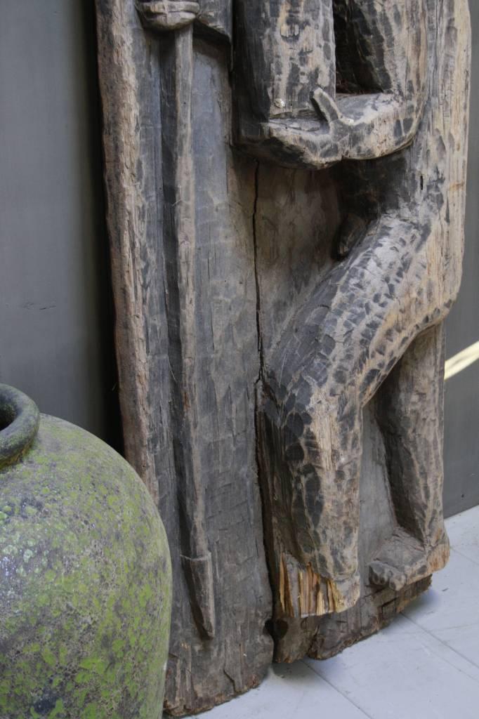 Oud houten Indisch paneel man + koe 186 x 60 x 20 cm --5