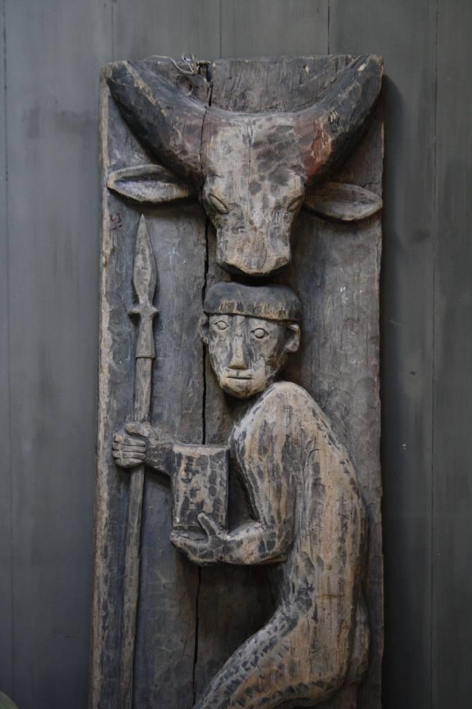 Oud houten Indisch paneel man + koe 186 x 60 x 20 cm --3