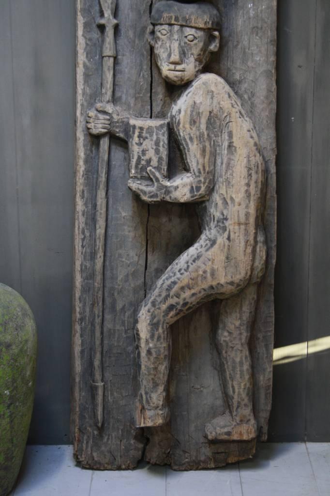 Oud houten Indisch paneel man + koe 186 x 60 x 20 cm --2