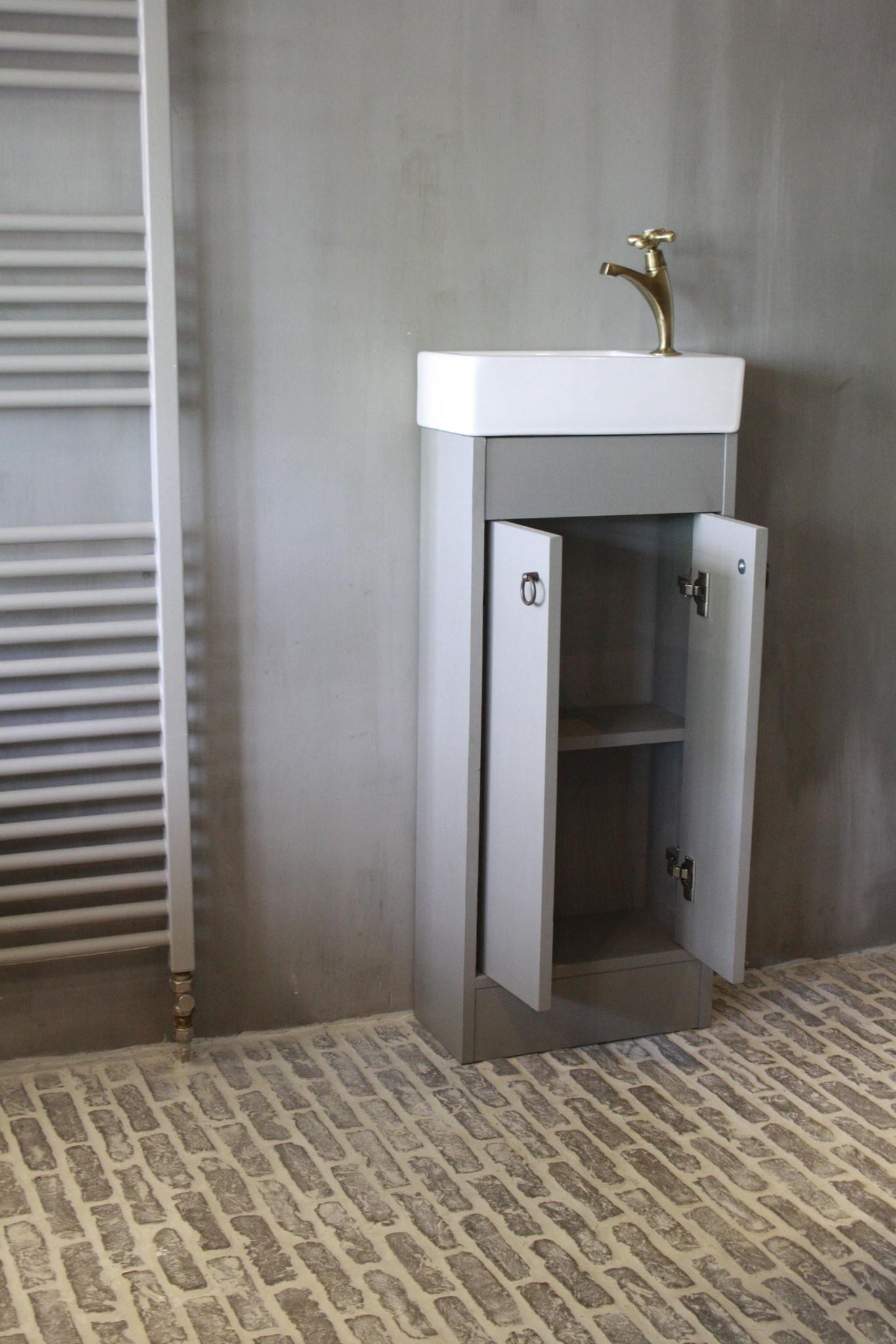 Landelijk toiletmeubel + fontein wit 90 x 38 cm-2