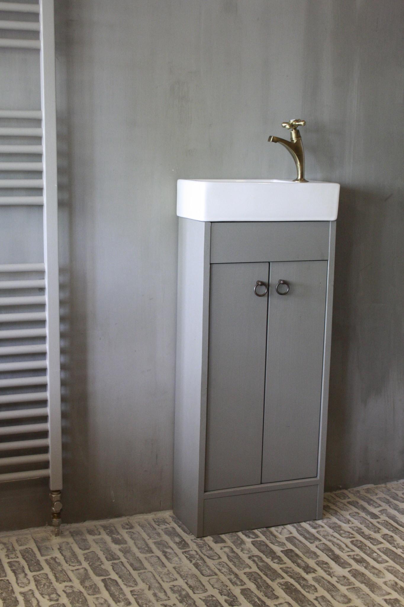 Landelijk toiletmeubel + fontein wit 90 x 38 cm-1
