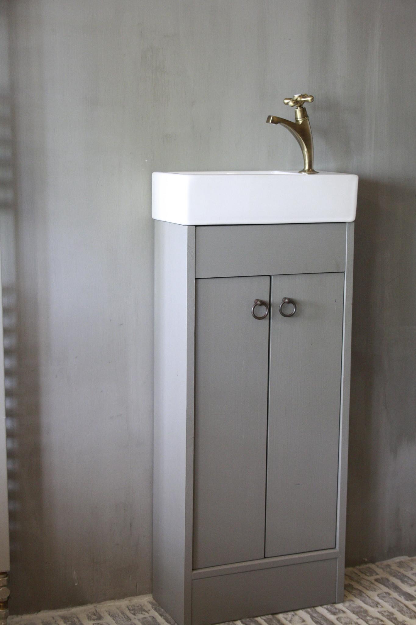 Landelijk toiletmeubel + fontein wit 90 x 38 cm-3