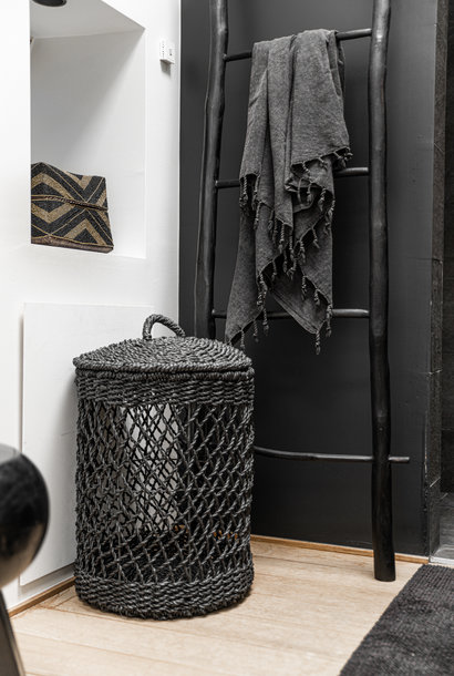 Wasmand - Zwart - Riet - M - 35 x 35 x 50 cm