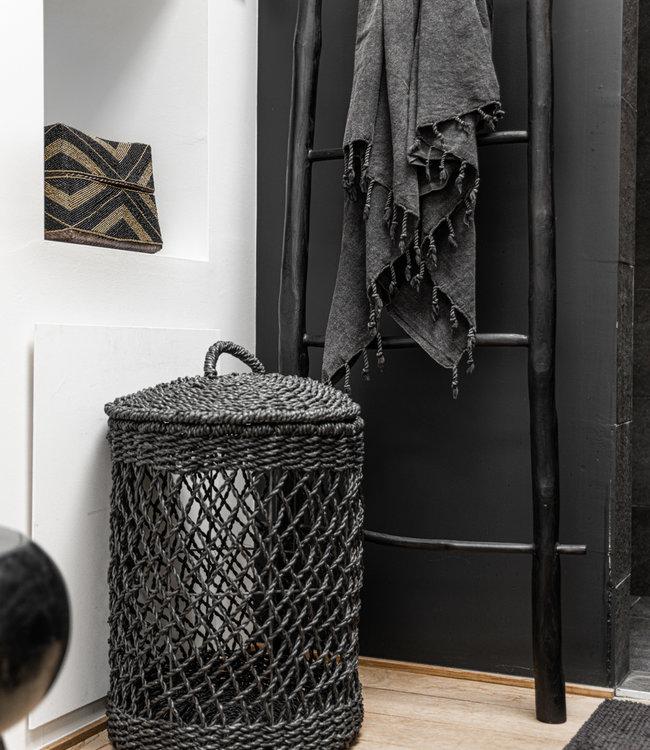 Bazar Bizar Wasmand - Zwart - Riet - M - 35 x 35 x 50 cm