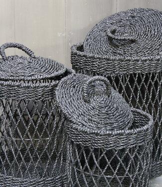 Bazar Bizar Wasmand - Zwart - Riet - S - 30 x 30 x 40 cm