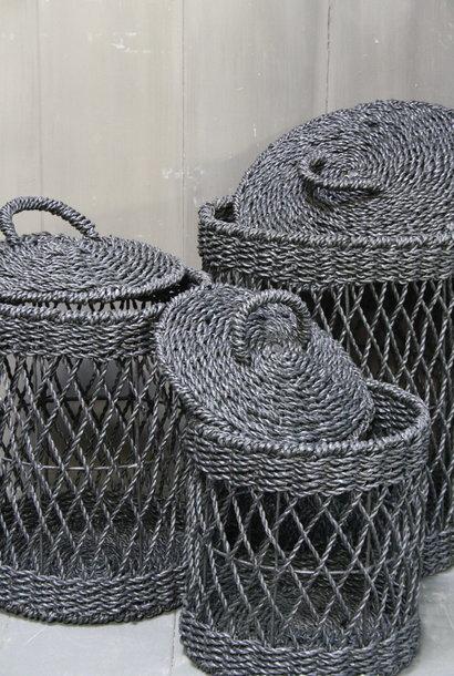 Wasmand - Zwart - Riet - S - 30 x 30 x 40 cm