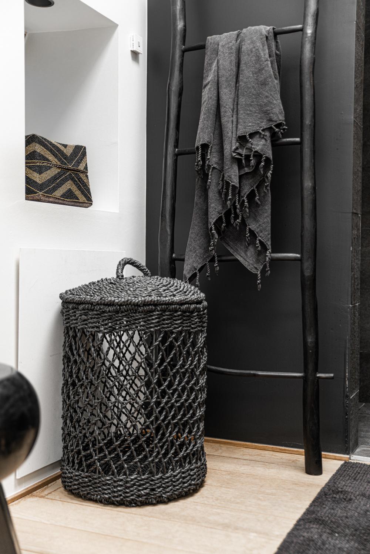 *Tijdelijk uitverkocht Wasmand - Zwart - Riet - L - 40 x 40 x 55 cm-2
