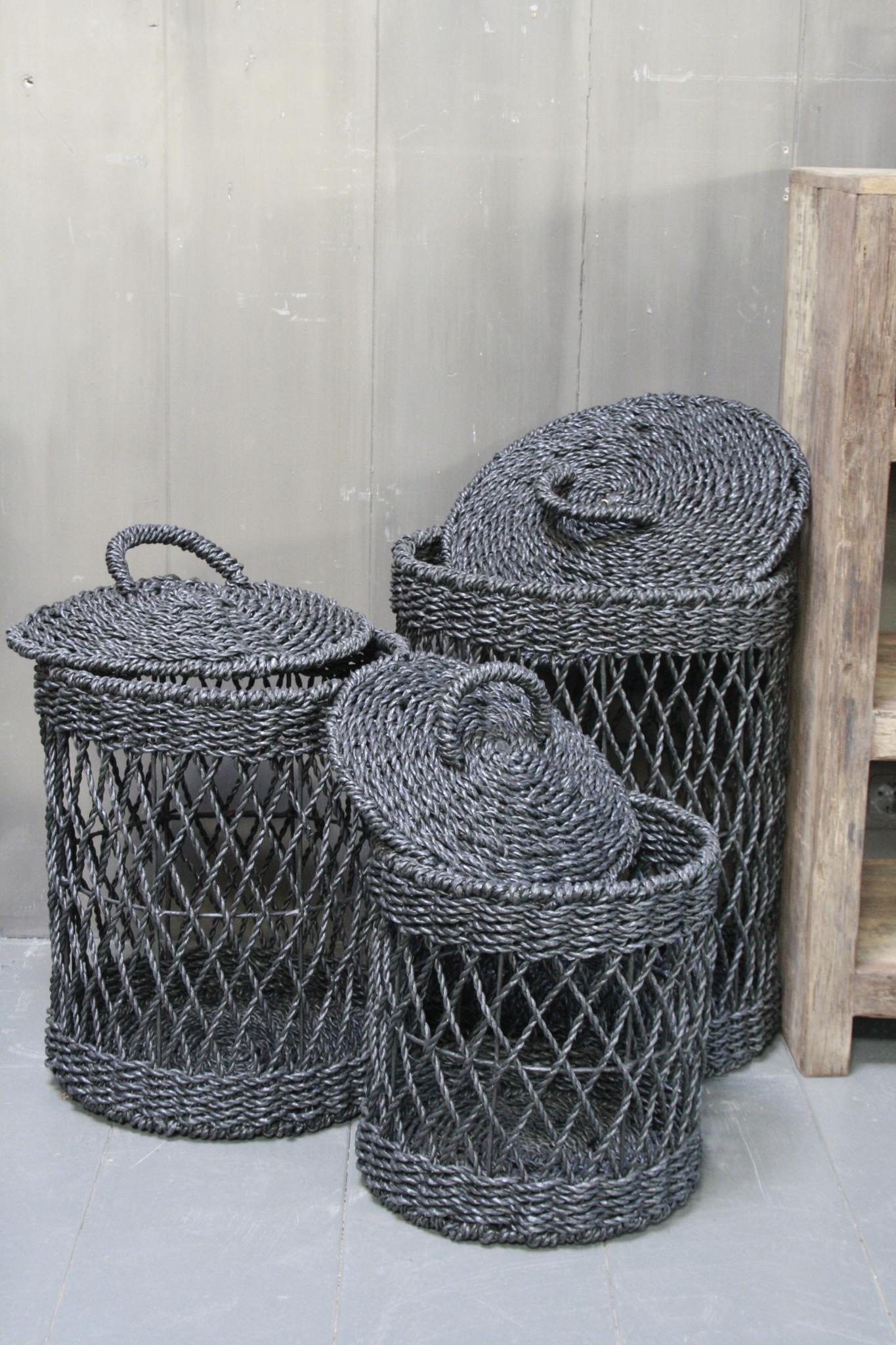 *Tijdelijk uitverkocht Wasmand - Zwart - Riet - L - 40 x 40 x 55 cm-4