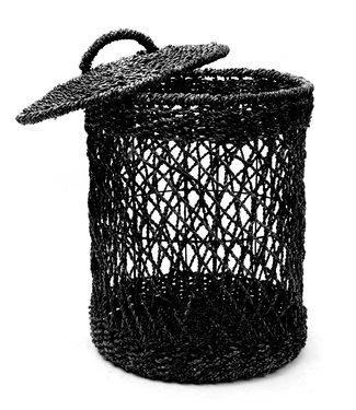 Bazar Bizar *Tijdelijk uitverkocht Wasmand - Zwart - Riet - L - 40 x 40 x 55 cm