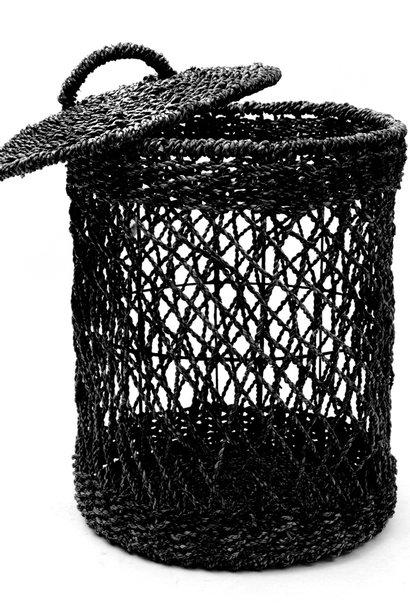 *Tijdelijk uitverkocht Wasmand - Zwart - Riet - L - 40 x 40 x 55 cm