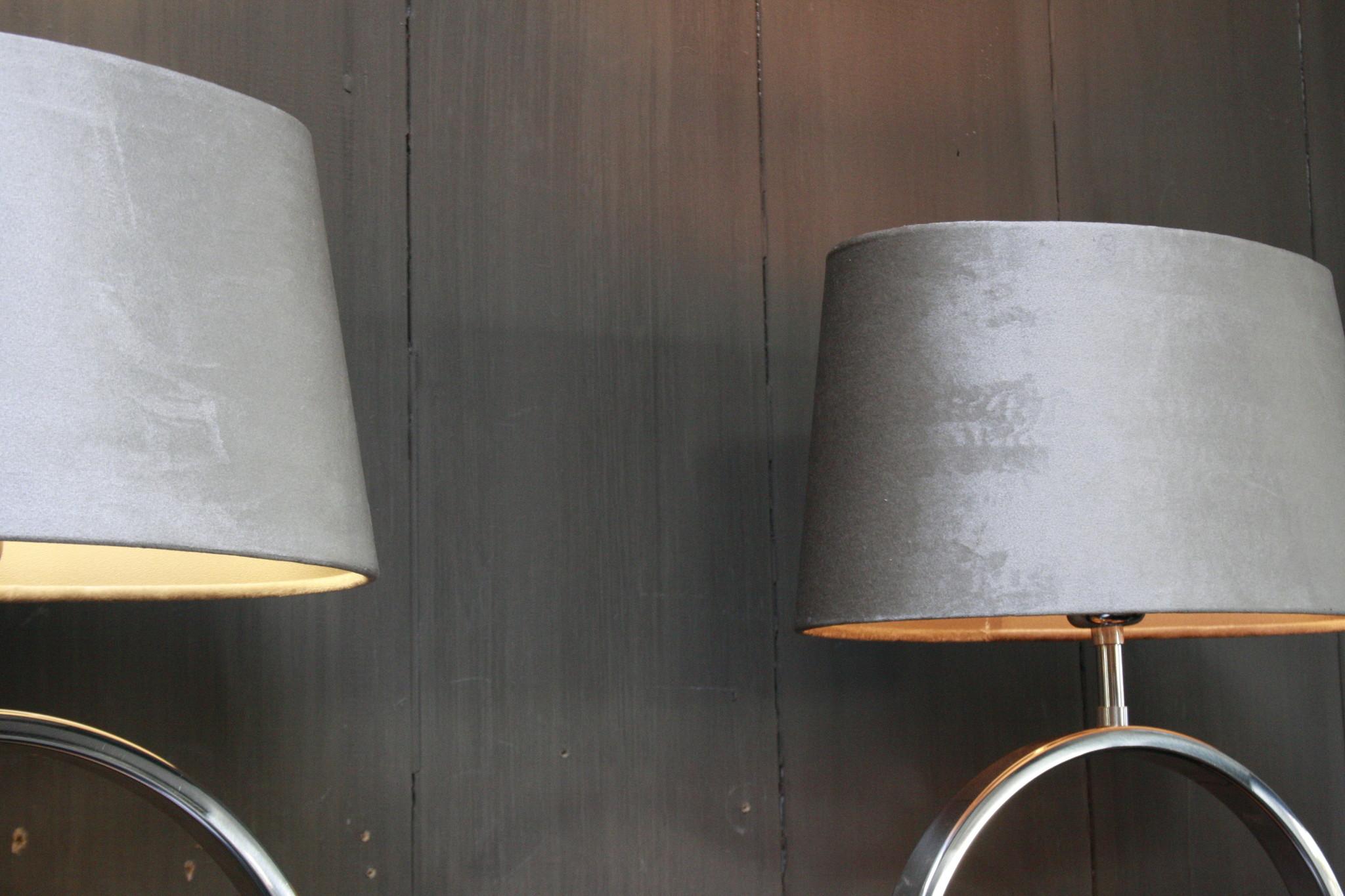 Tafellamp Rond Zilver + Velours kap Eric Kuster-4
