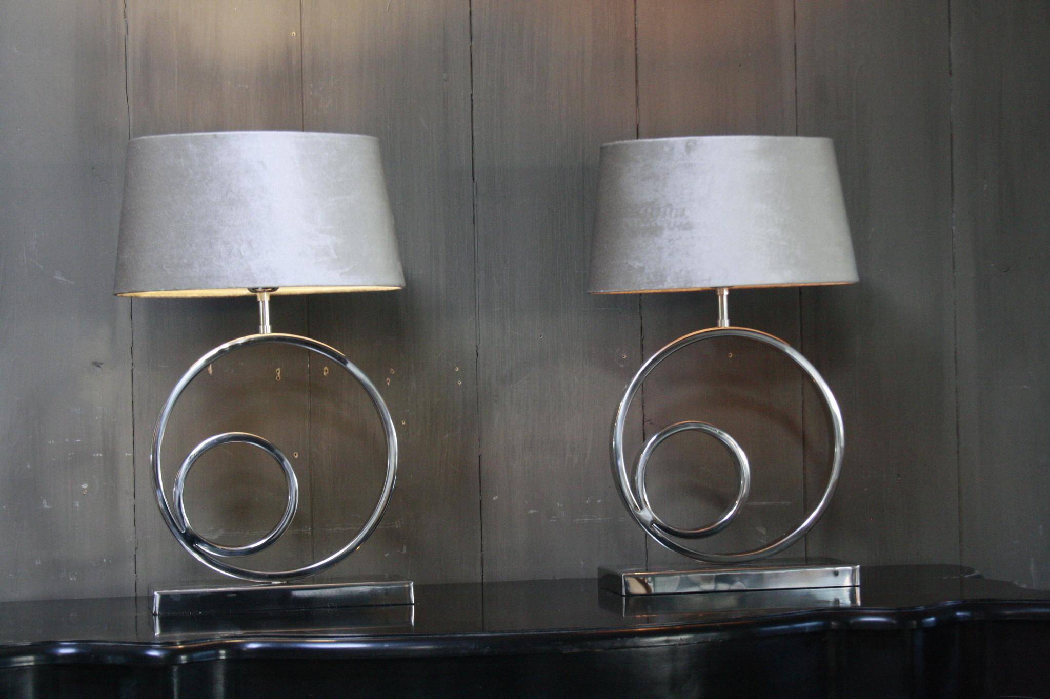 Tafellamp Rond Zilver + Velours kap Eric Kuster-2