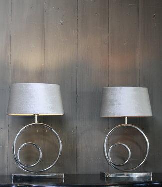 Tafellamp Rond Zilver + Velours kap Eric Kuster