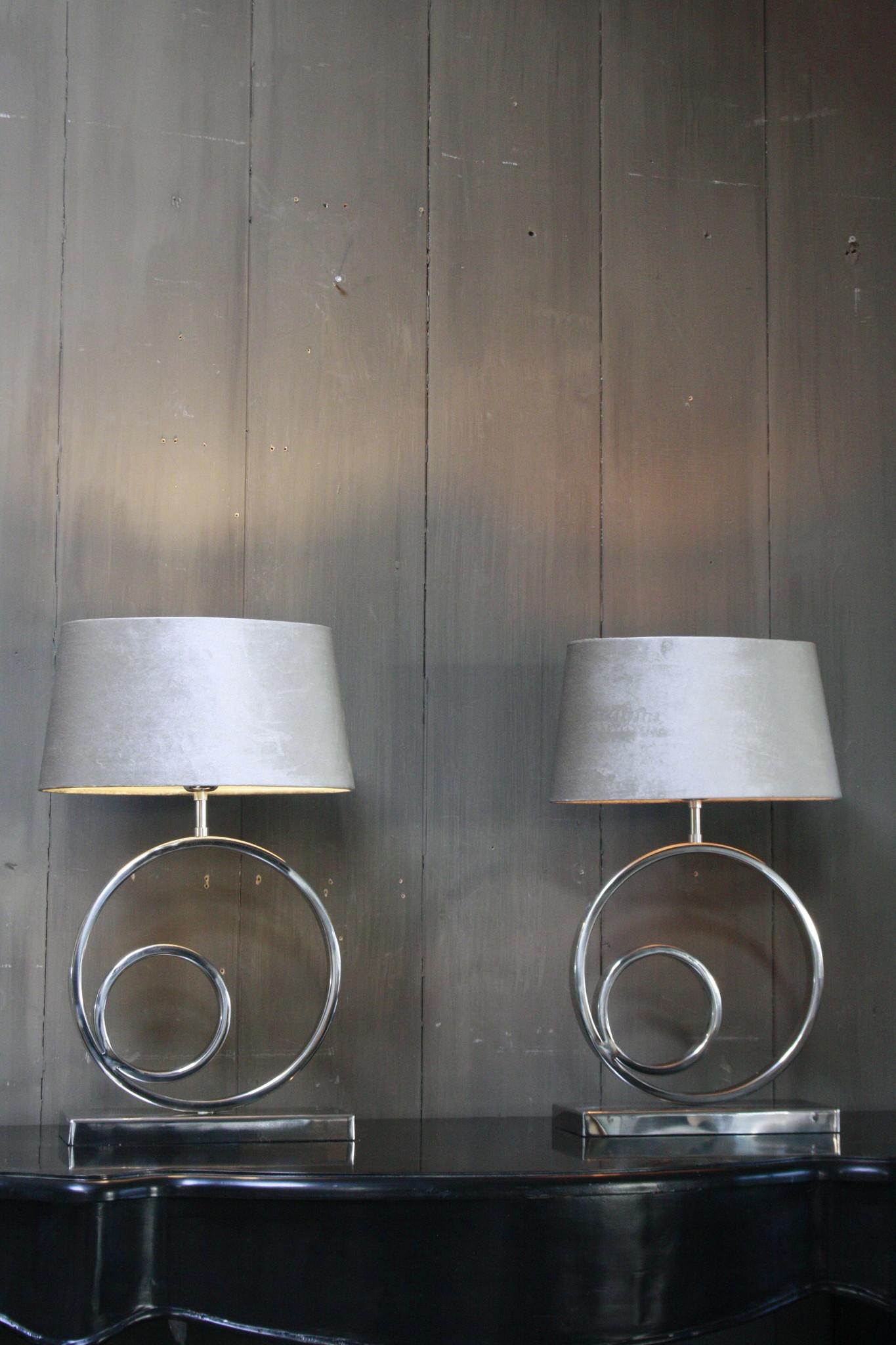 Tafellamp Rond Zilver + Velours kap Eric Kuster-1