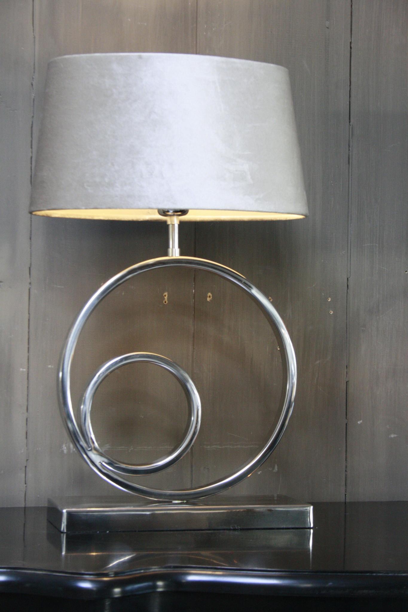 Tafellamp Rond Zilver + Velours kap Eric Kuster-3