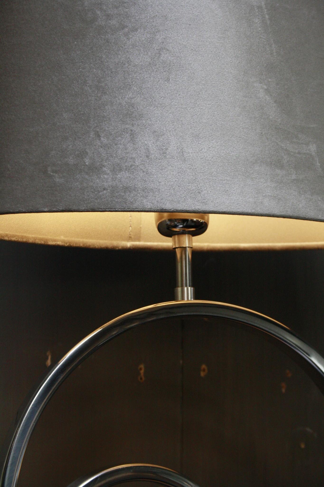 Tafellamp Rond Zilver + Velours kap Eric Kuster-5