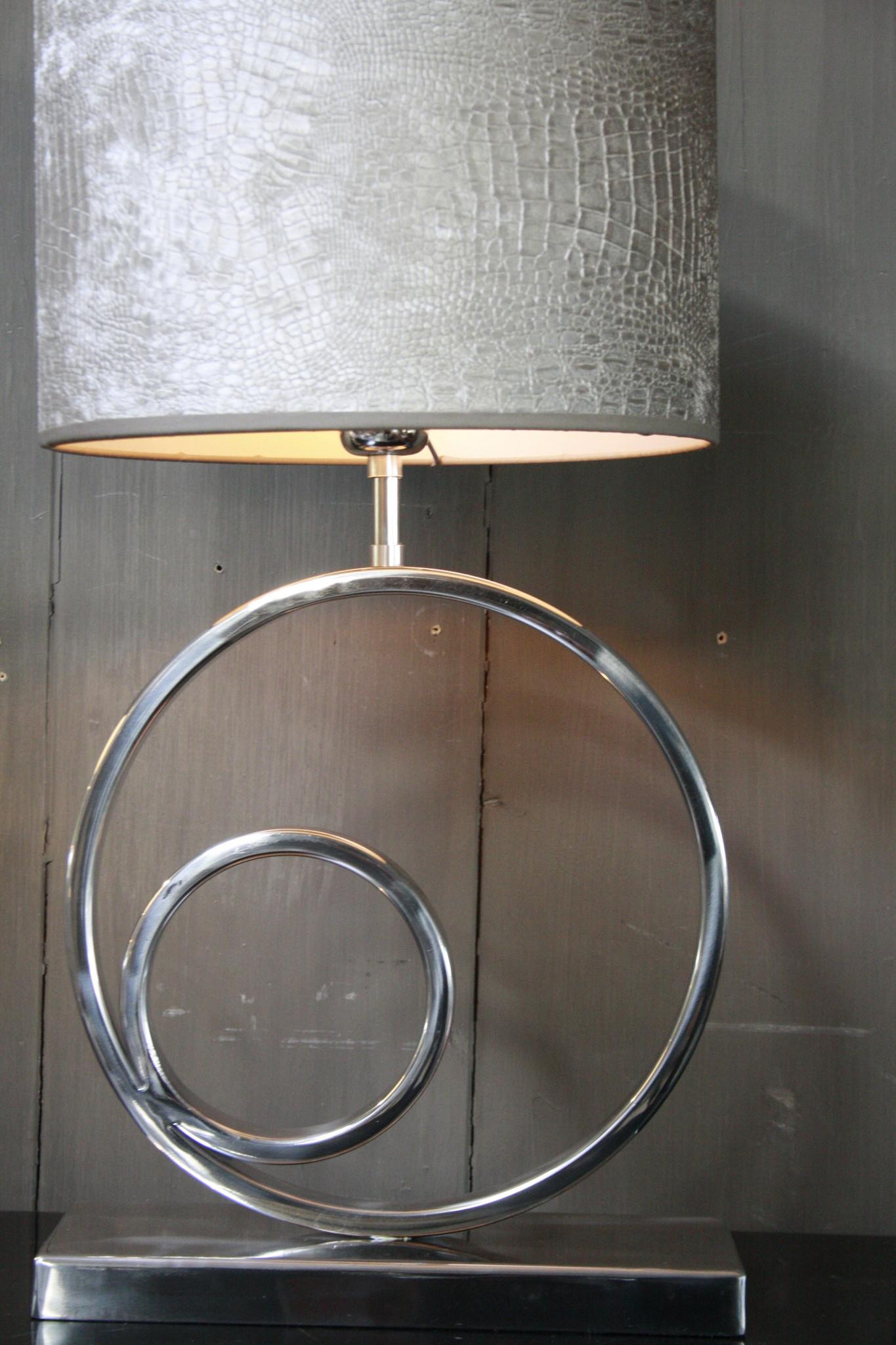 Tafellamp Rond Zilver + Chelsea Velours kap Eric Kuster-3