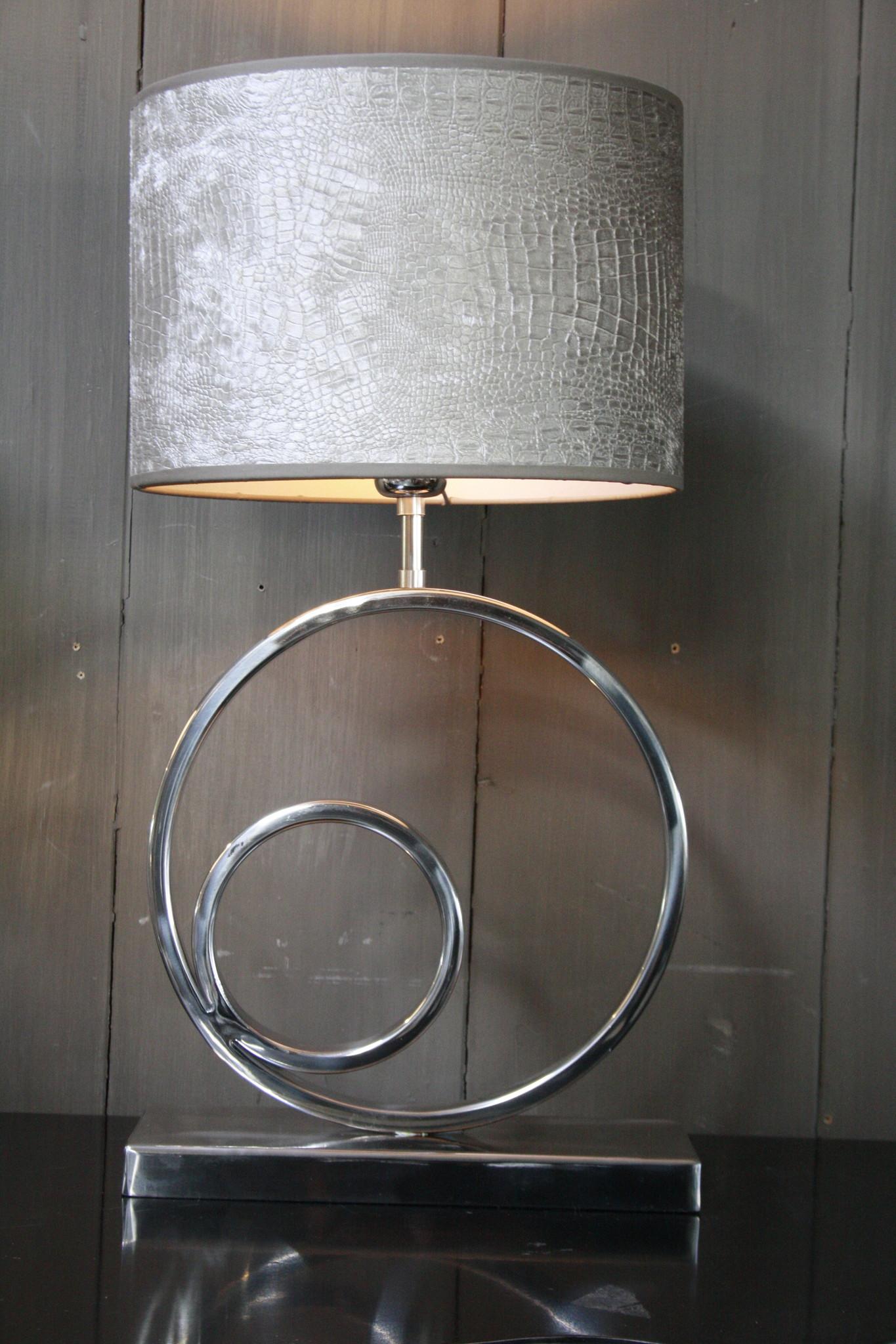 Tafellamp Rond Zilver + Chelsea Velours kap Eric Kuster-4