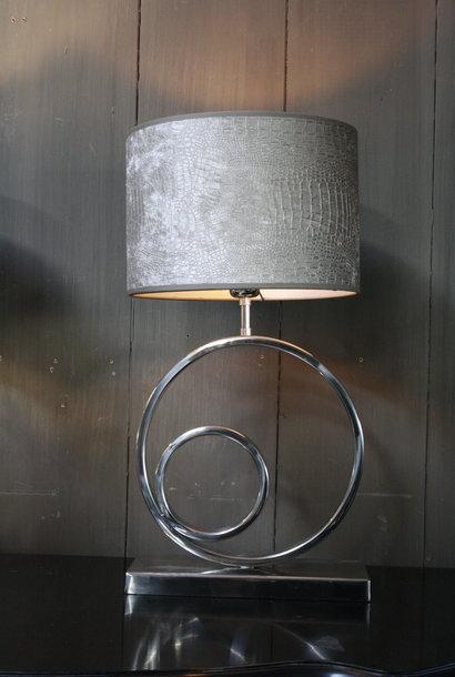 Tafellamp Rond Zilver + Chelsea Velours kap Eric Kuster