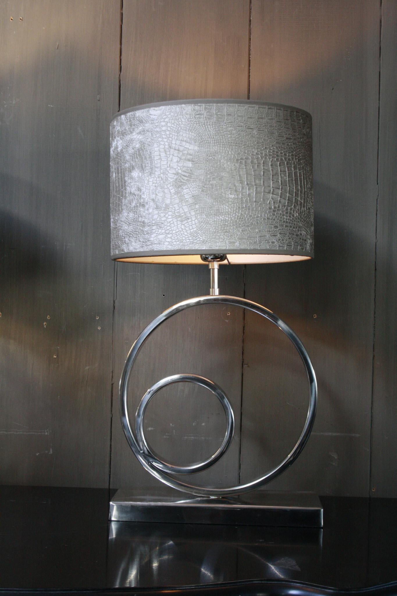 Tafellamp Rond Zilver + Chelsea Velours kap Eric Kuster-1