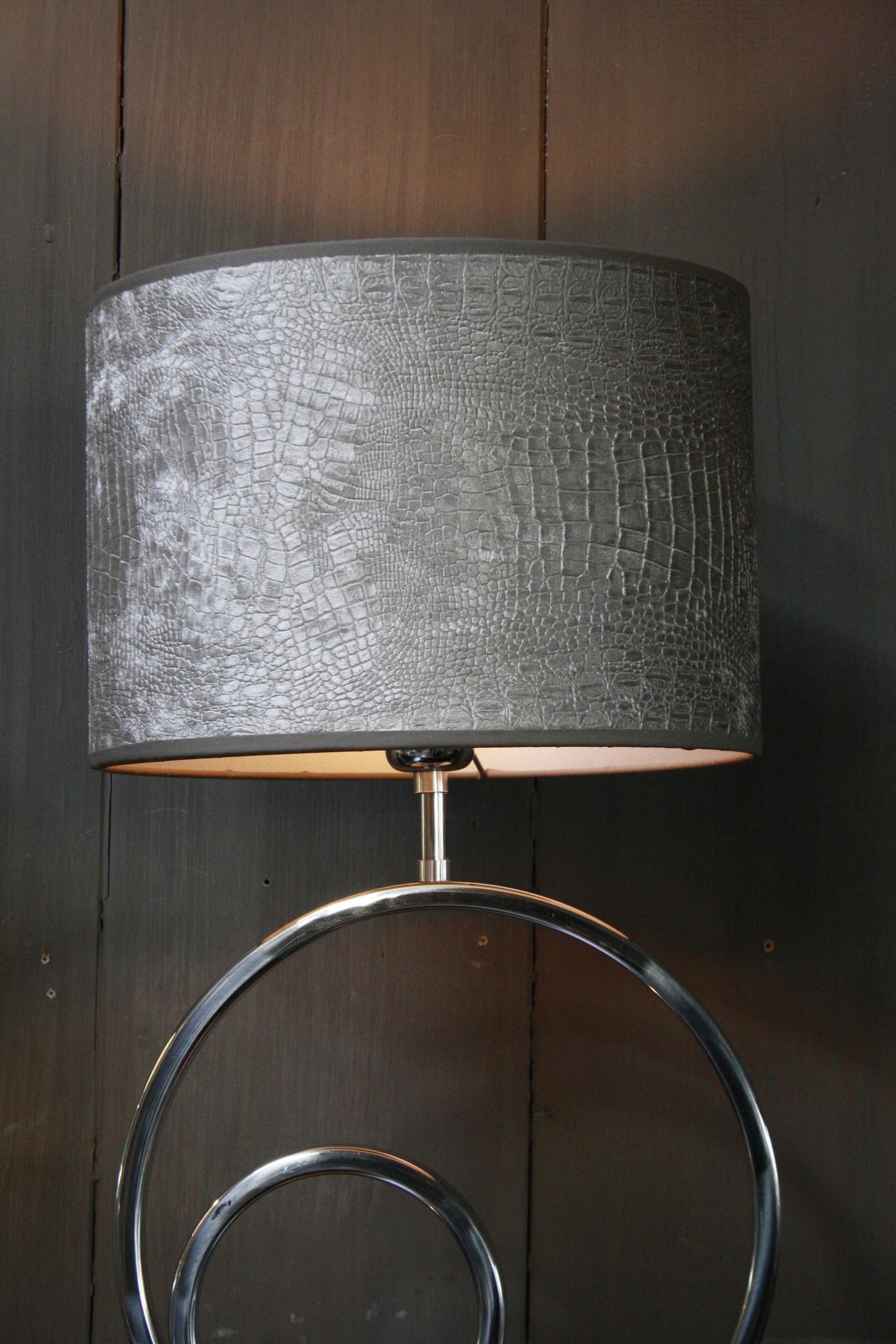 Tafellamp Rond Zilver + Chelsea Velours kap Eric Kuster-5