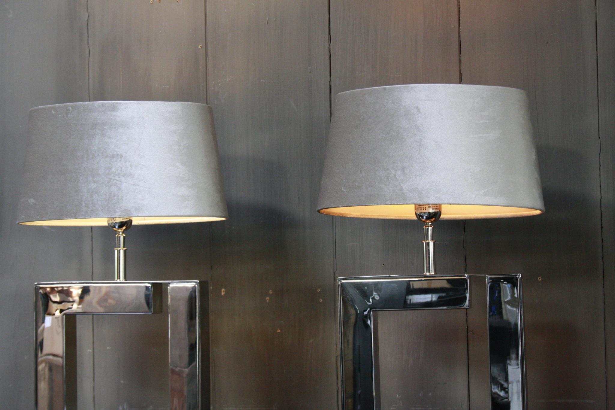Tafellamp Vierkant Zilver + Velours kap Eric Kuster-4