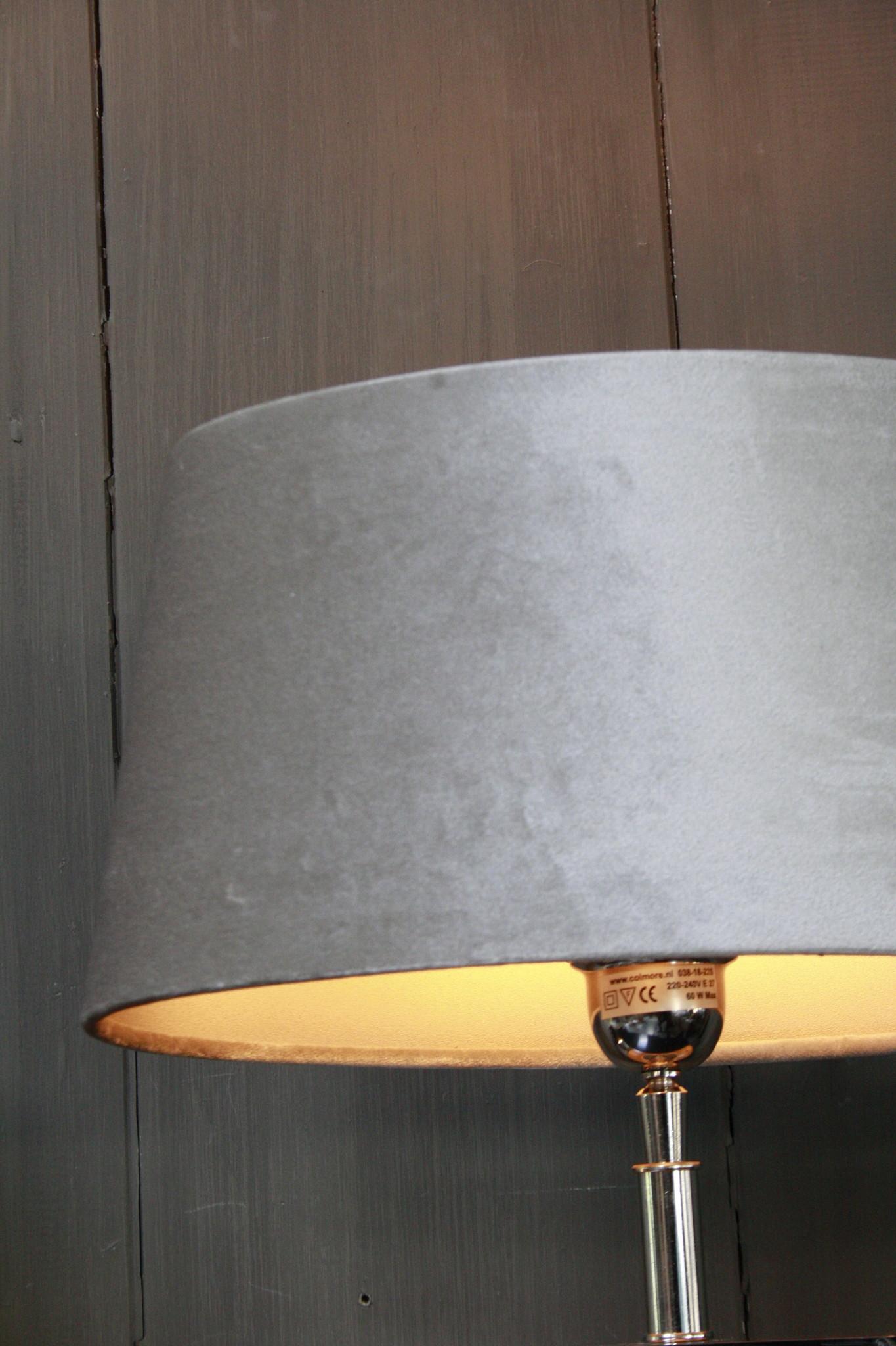 Tafellamp Vierkant Zilver + Velours kap Eric Kuster-3
