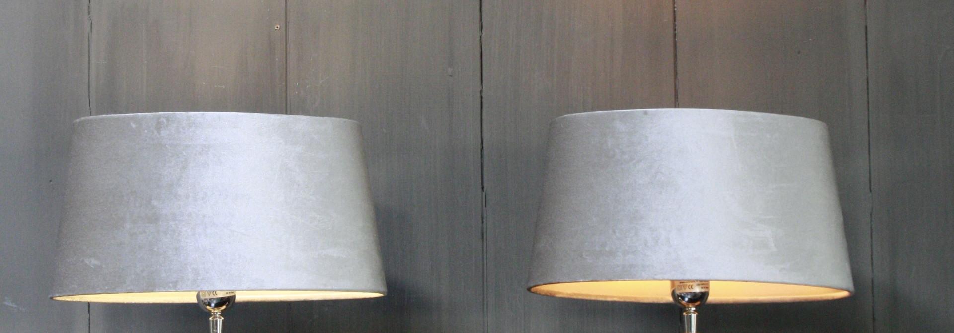 Tafellamp Vierkant Zilver + Velours kap Eric Kuster