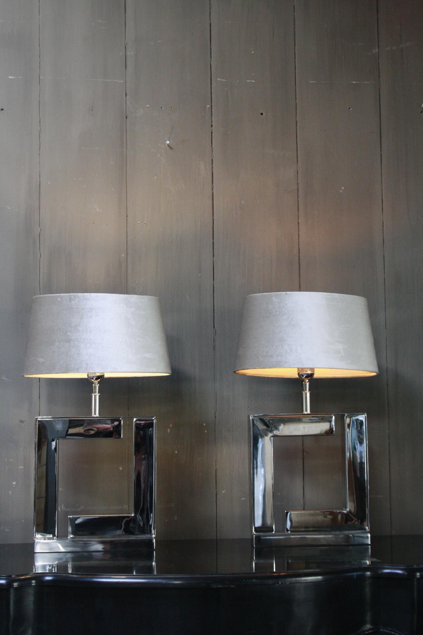 Tafellamp Vierkant Zilver + Velours kap Eric Kuster-1