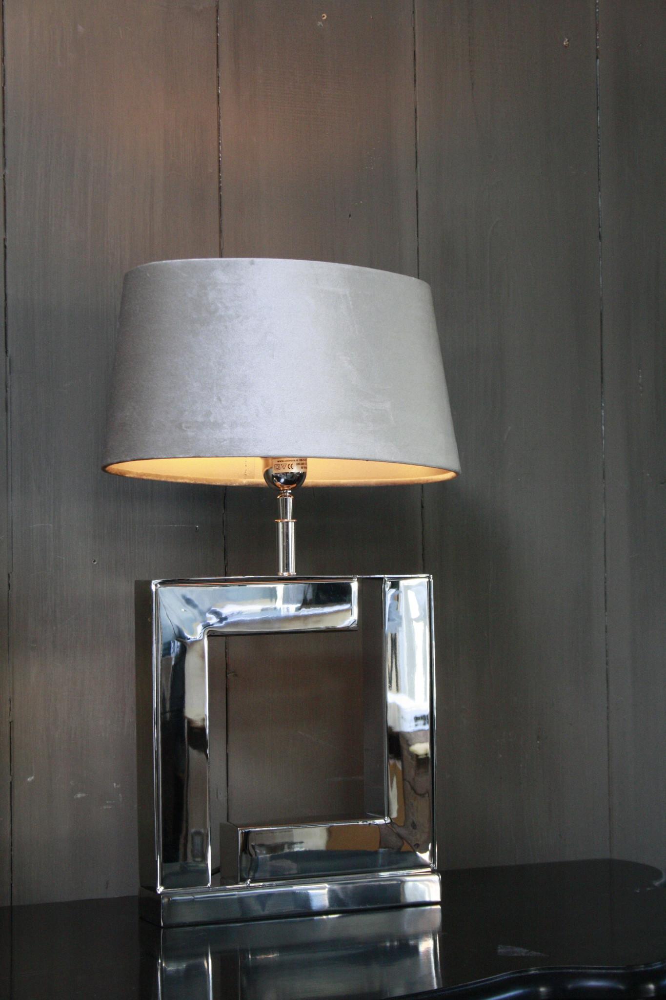 Tafellamp Vierkant Zilver + Velours kap Eric Kuster-2