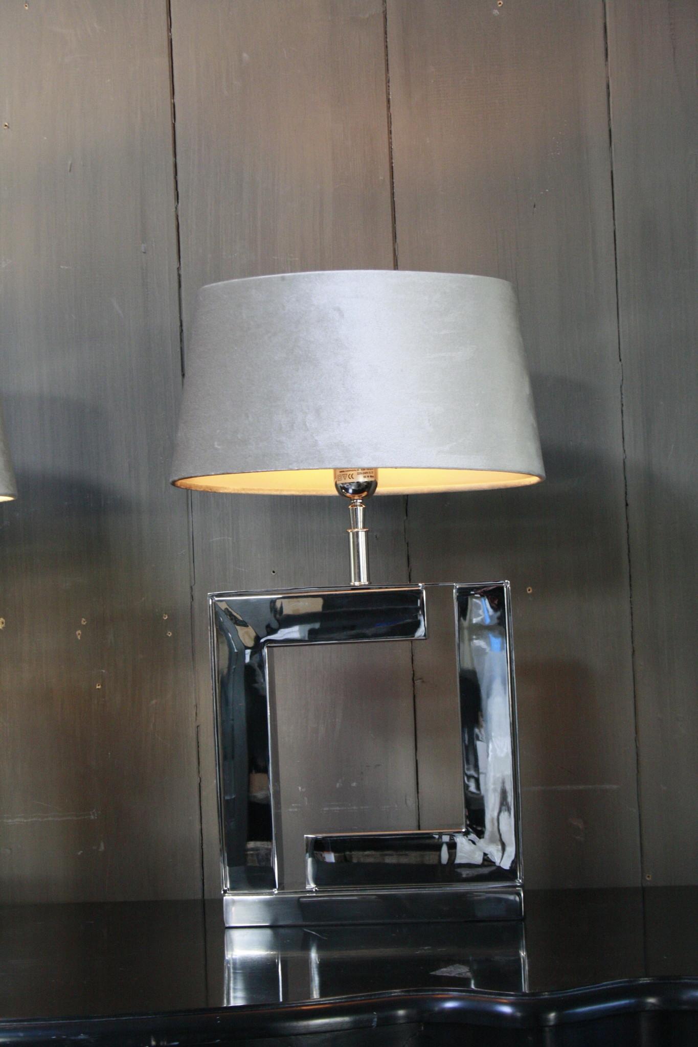 Tafellamp Vierkant Zilver + Velours kap Eric Kuster-5