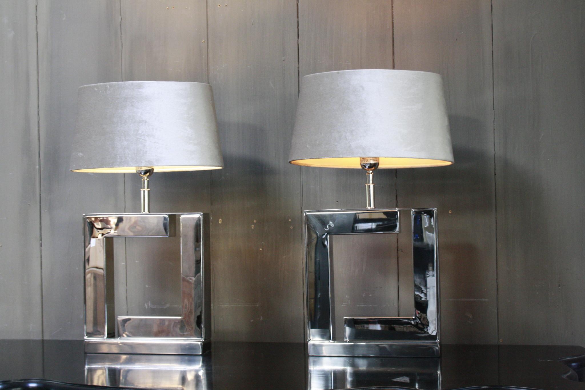 Tafellamp Vierkant Zilver + Velours kap Eric Kuster-6