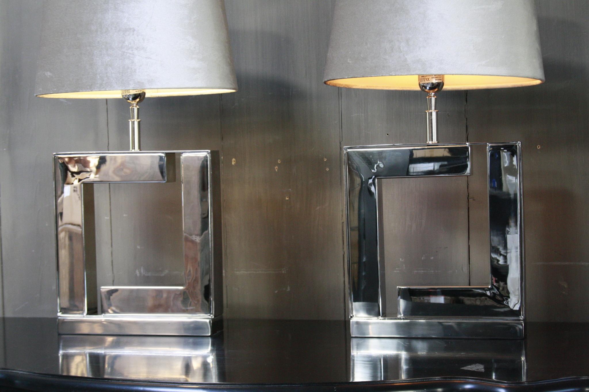 Tafellamp Vierkant Zilver + Velours kap Eric Kuster-7