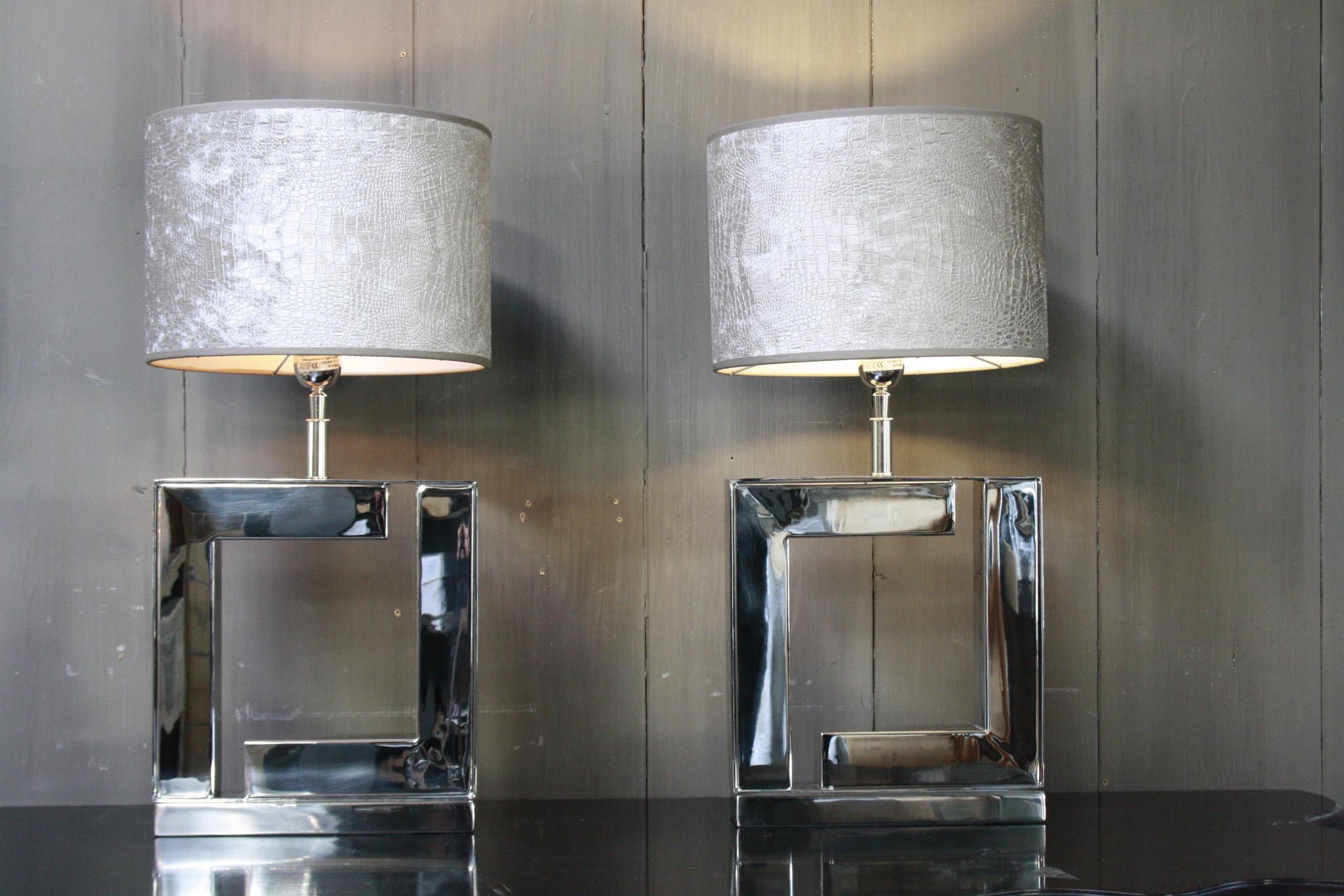 Tafellamp Vierkant Zilver +  Chelsea Velours kap Eric Kuster-3