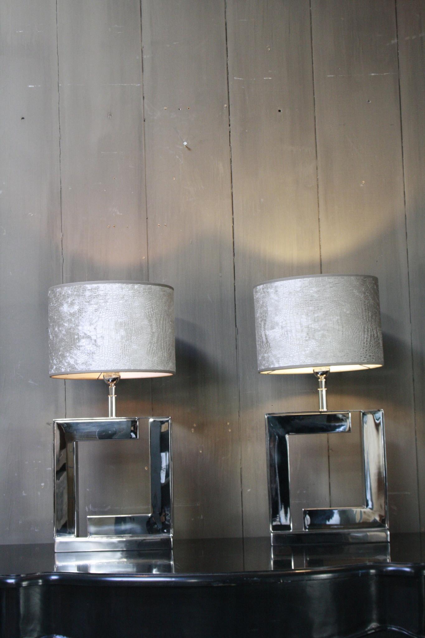 Tafellamp Vierkant Zilver +  Chelsea Velours kap Eric Kuster-4