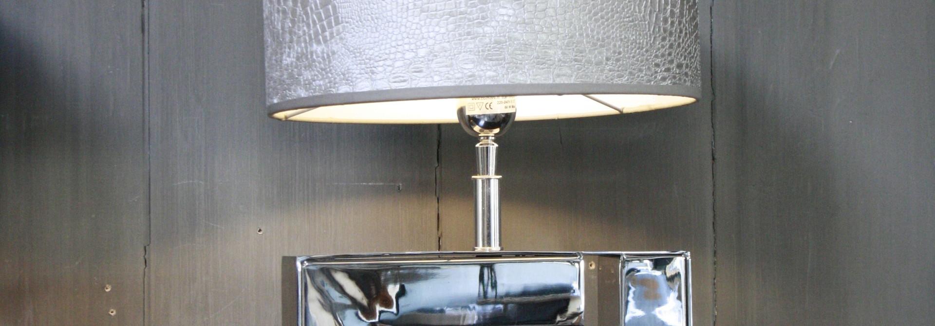 Tafellamp Vierkant Zilver +  Chelsea Velours kap Eric Kuster