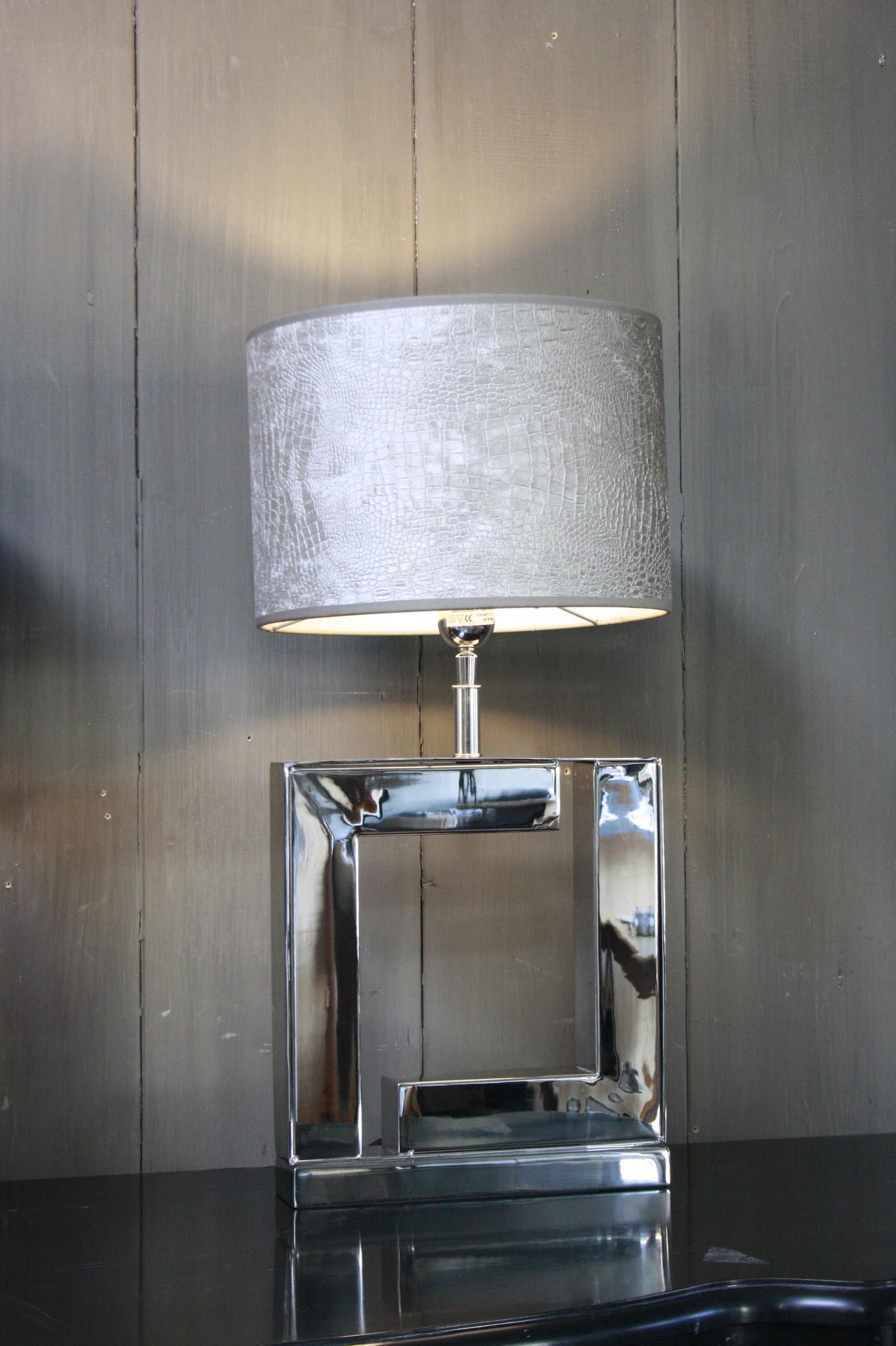 Tafellamp Vierkant Zilver +  Chelsea Velours kap Eric Kuster-1