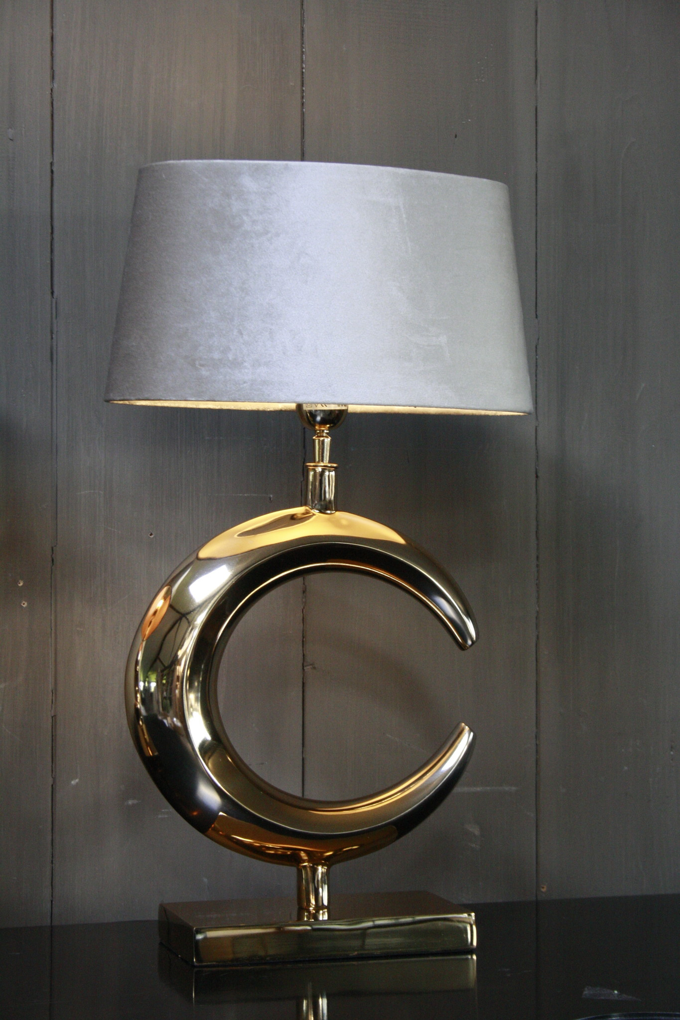 Tafellamp Goud Rond + Velours kap Eric Kuster-2