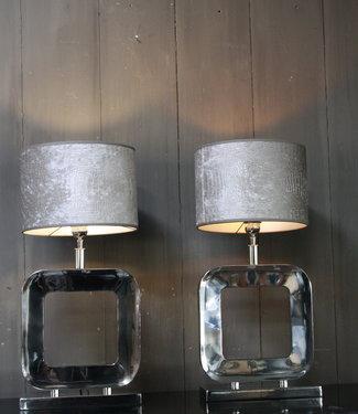 Tafellamp Moderno Zilver +  Chelsea Velours kap Eric Kuster