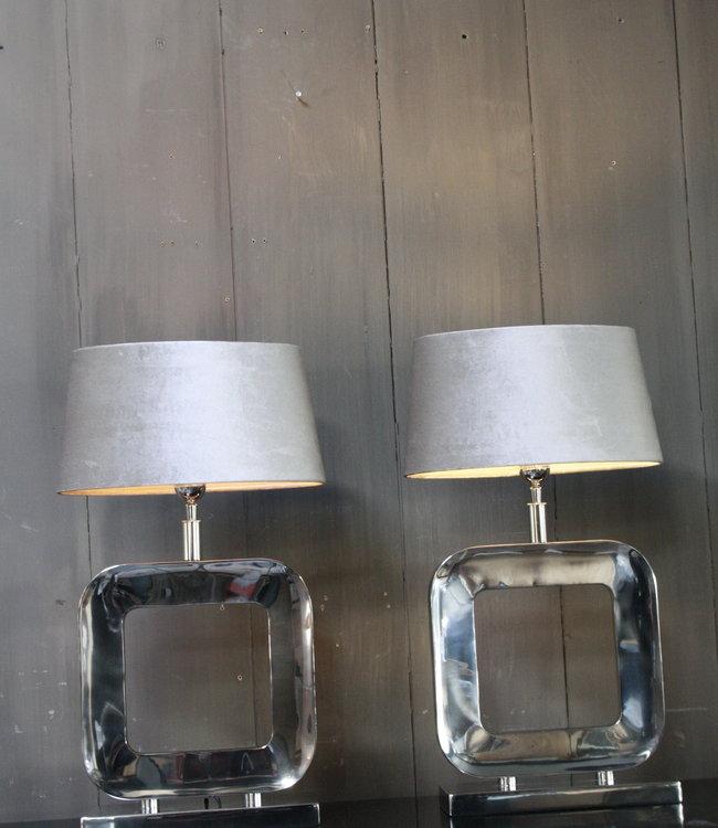 Tafellamp Moderno Zilver + Velours kap Eric Kuster