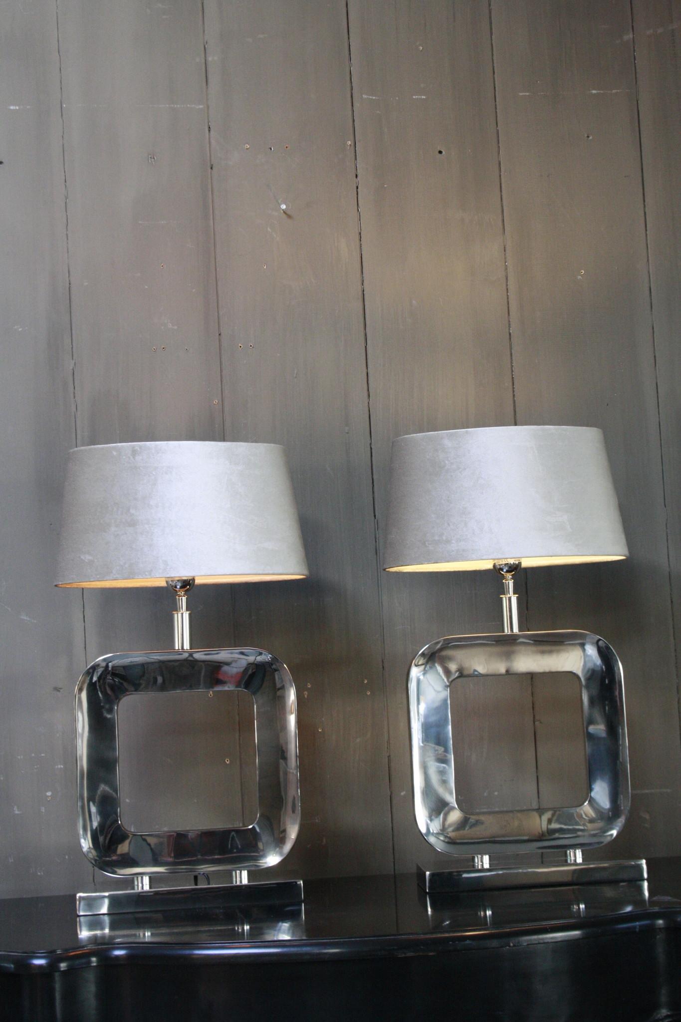 Tafellamp Moderno Zilver + Velours kap Eric Kuster-1